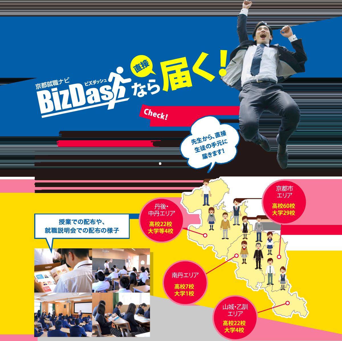 採用活動が困難なコロナ禍の中でも、若者に直接配布される信頼のメディア!京都転職ナビBisDashなら直接届く!学校を通じて生徒に直接手渡しする、若者たちに「直接届く」メディアです!